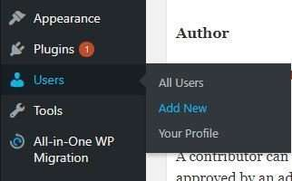 WP Users Add New