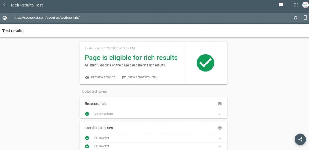 google rich results test 2