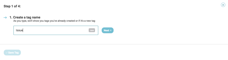 auto tagging create new tag step 1