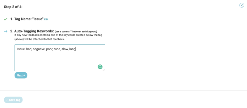 auto tagging create new tag step 2