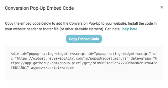conversion pop up embed code