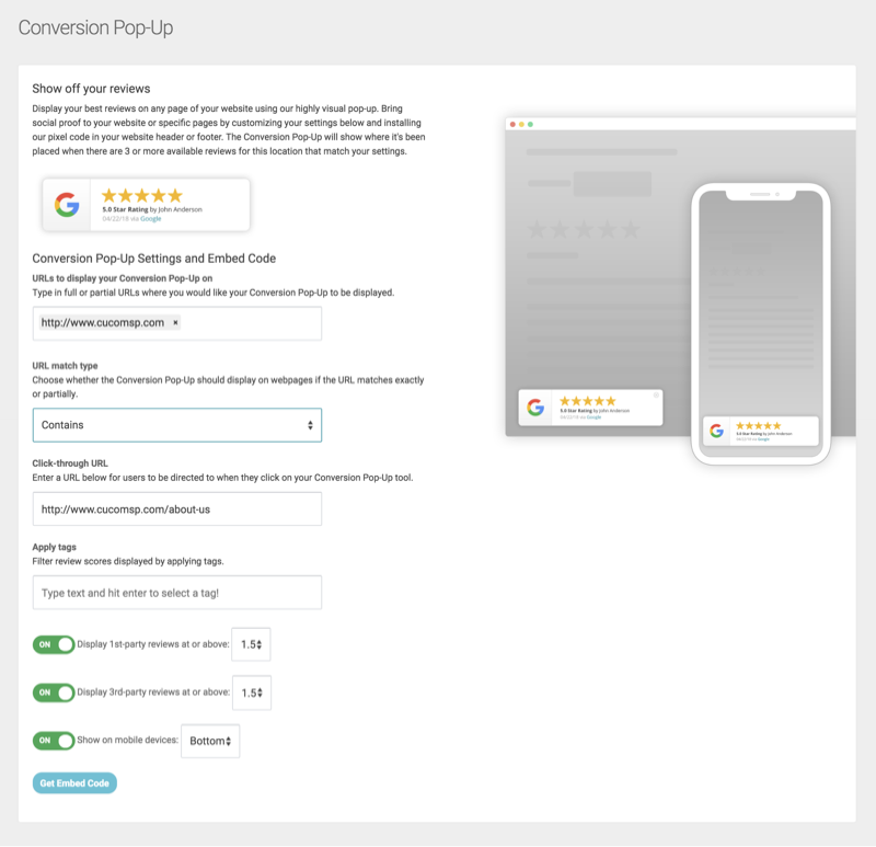 conversion pop up settings embed code
