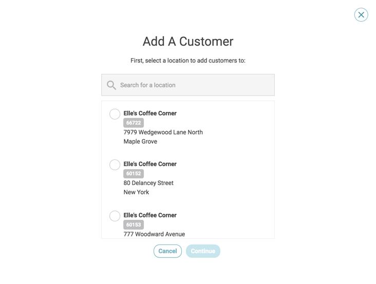 customer activity add customer no location selected