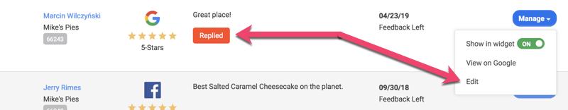 customer activity google replied to menu edit