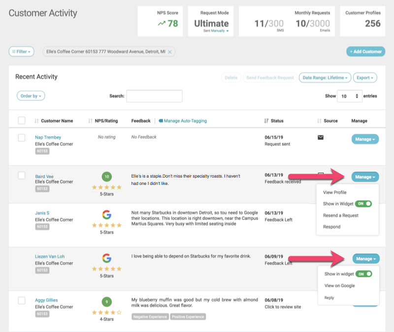 customer activity with third party reviews manage expanded reply