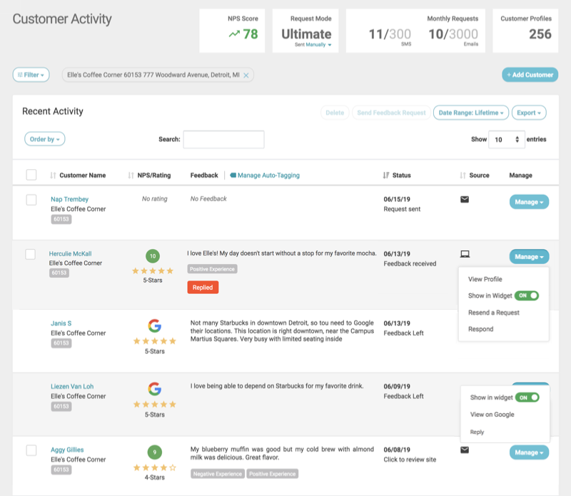 customer activity with third party reviews w replied