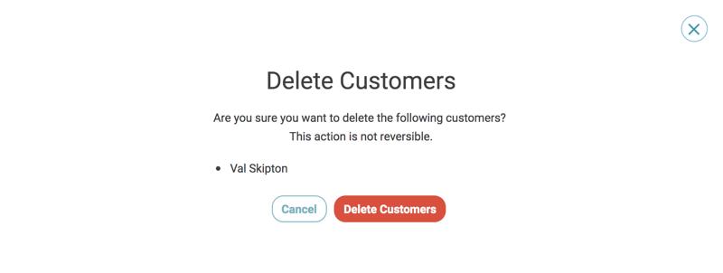 delete customer modal