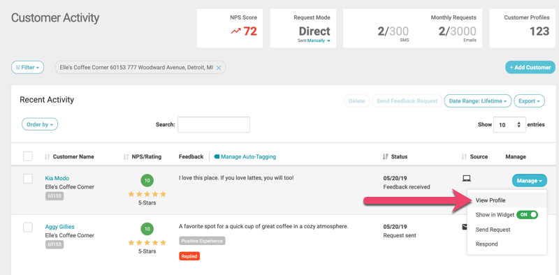 go to customer profile from customer activity