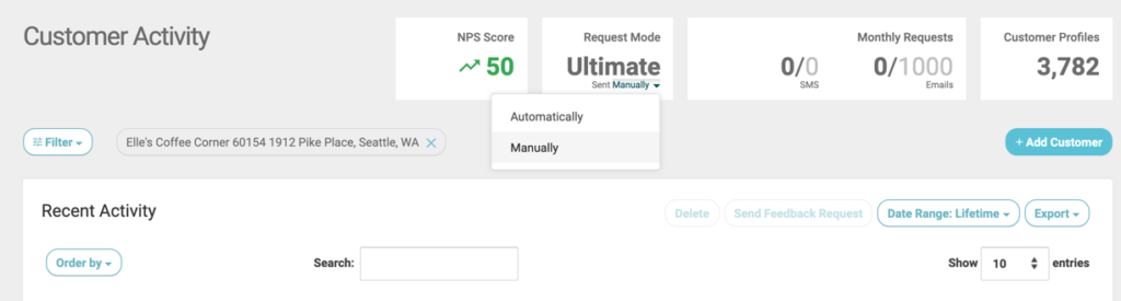 manually customer activity select