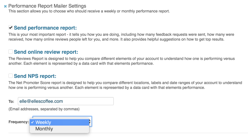 performance report send report