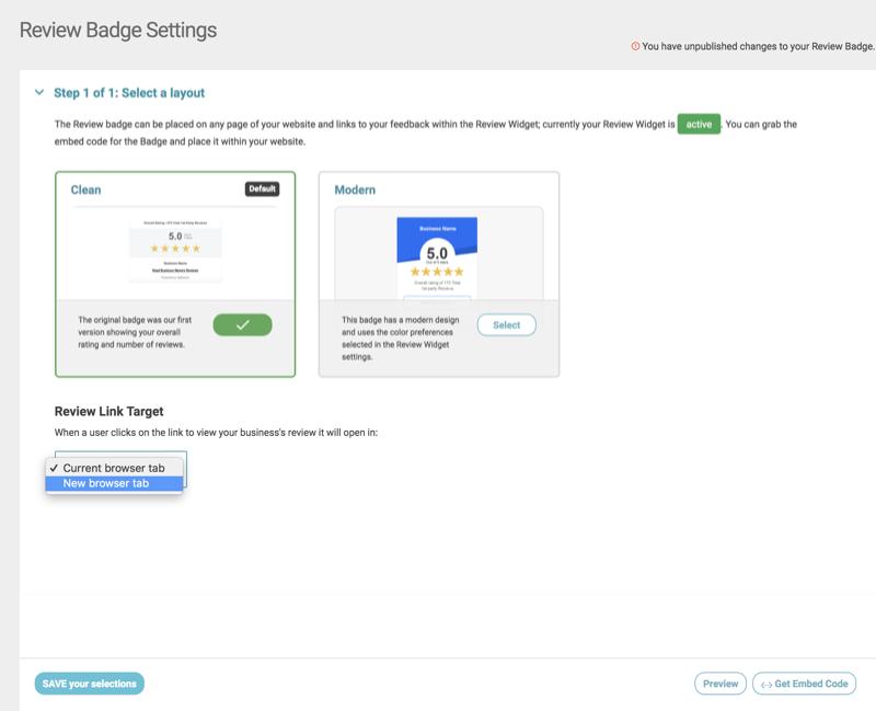 review badge settings