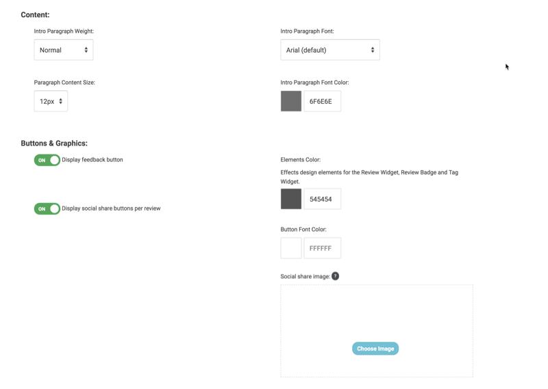 review widget customize