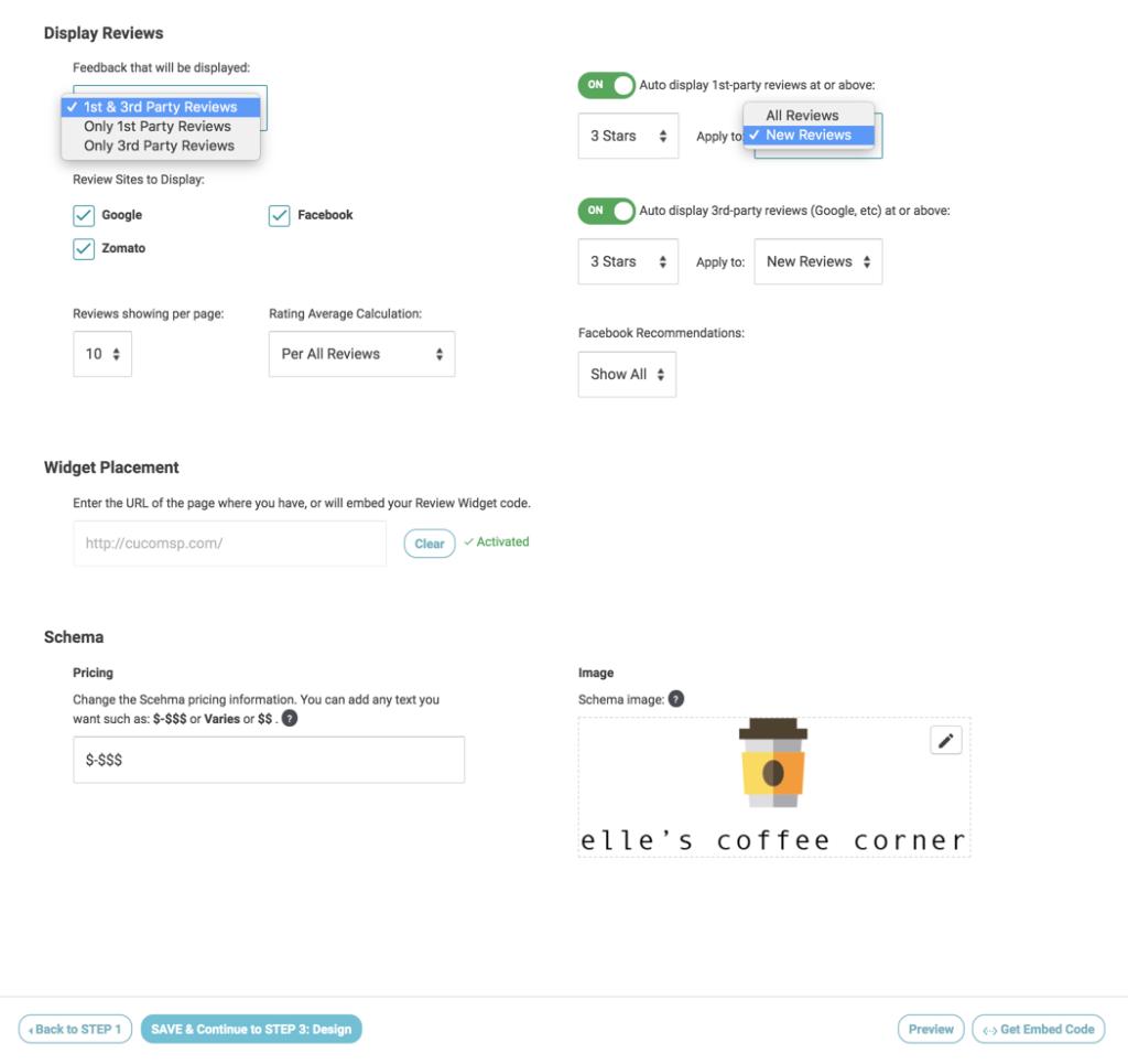 review widget step 2 display reviews