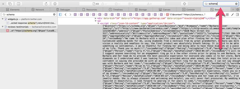 safari web inspector schema code