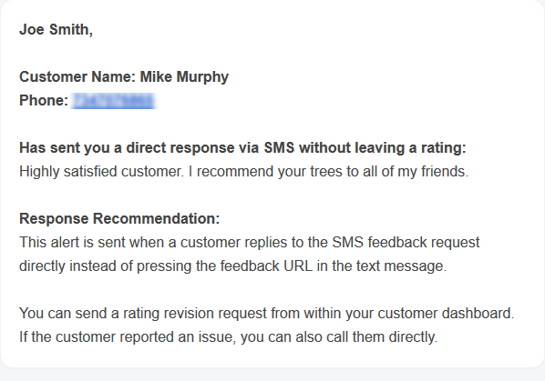 Feedback Notification Alert of SMS reply