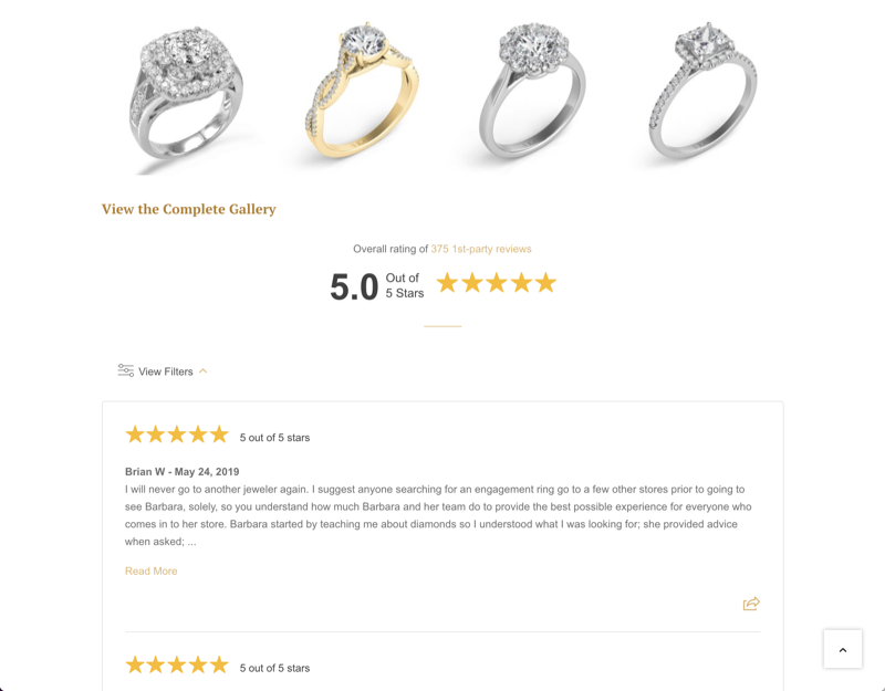 tag review widget example engagement rings