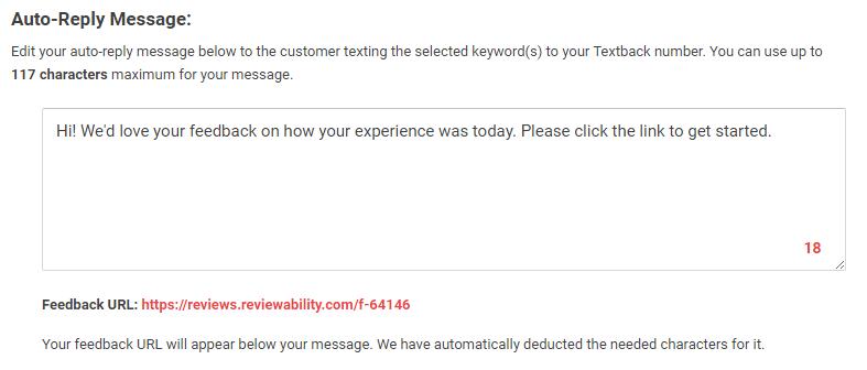 textback auto reply message