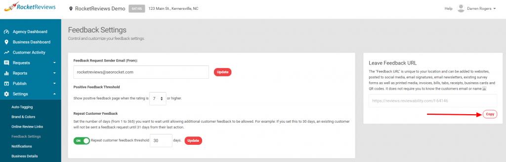 where to find feedback url