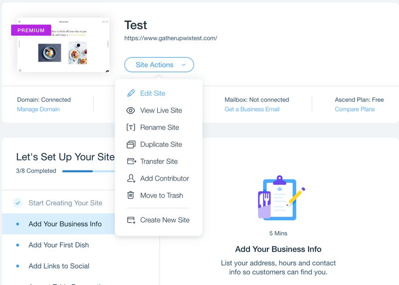 wix site actions edit site