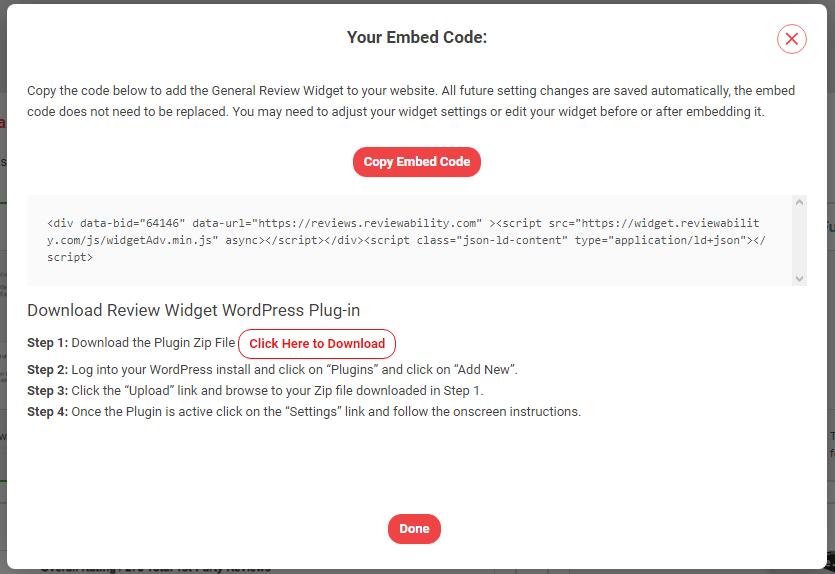 Review Widget Embed Code