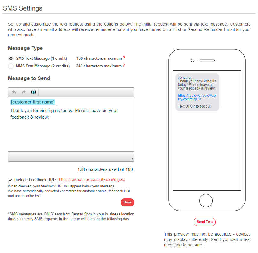 SMS Requests Settings 1