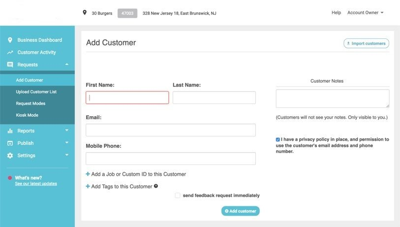 add customer to business location
