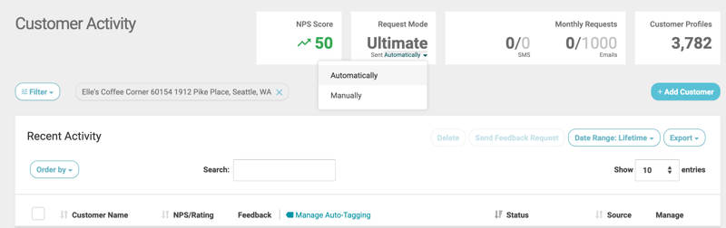 automatically customer activity select