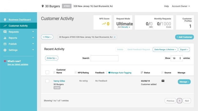 customer added showing in customer activity
