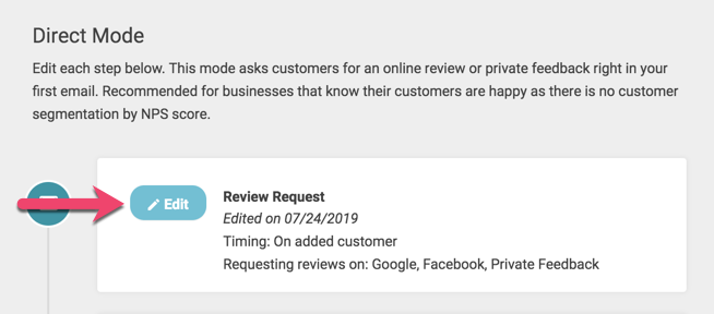 edit email request direct review request
