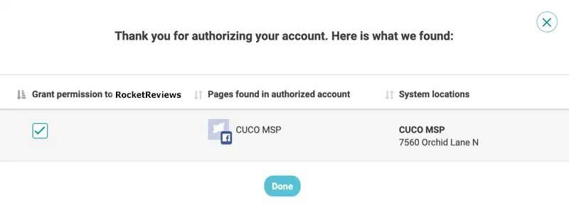 facebook authorization complete grant permission