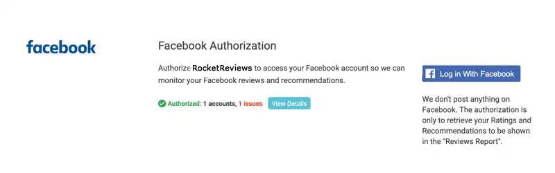 facebook authorization complete view details