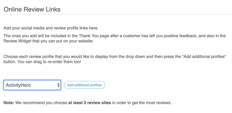 online review links click drop down select profile