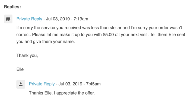 private reply with customer reply