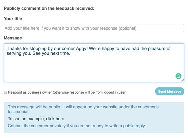public reply customer profile