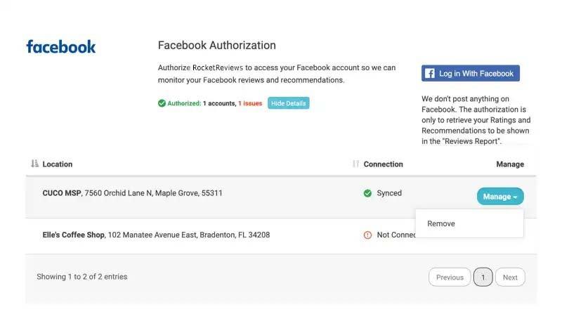 remove facebook authorization click manage