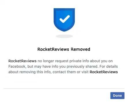 remove facebook authorization confirmation