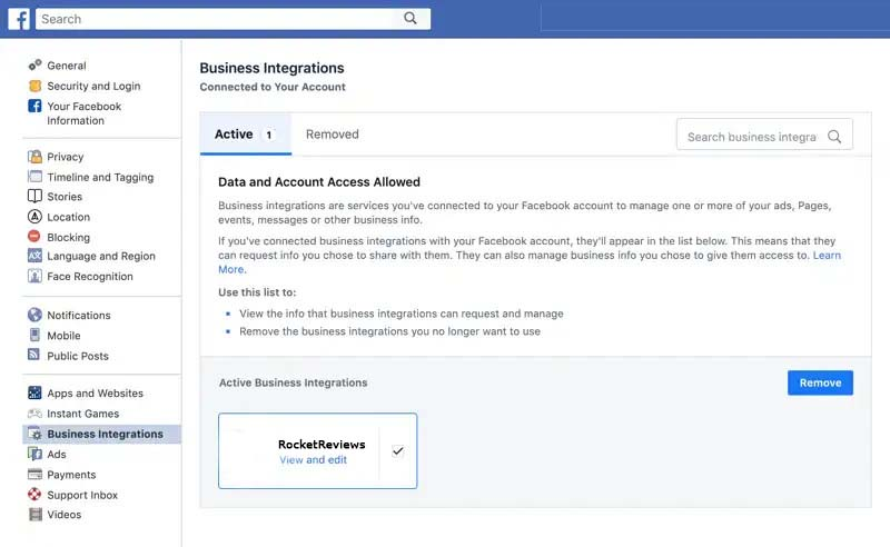 remove facebook authorization for rocketreviews 1
