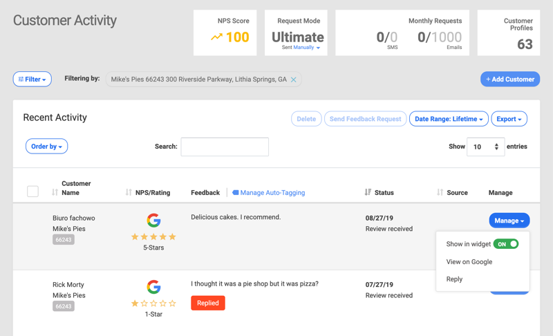 reply to google review customer activity