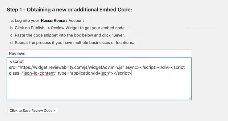 review widget for wordpress install step 1 obtain embed code