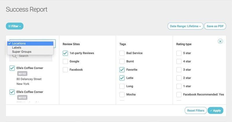 success report filter options