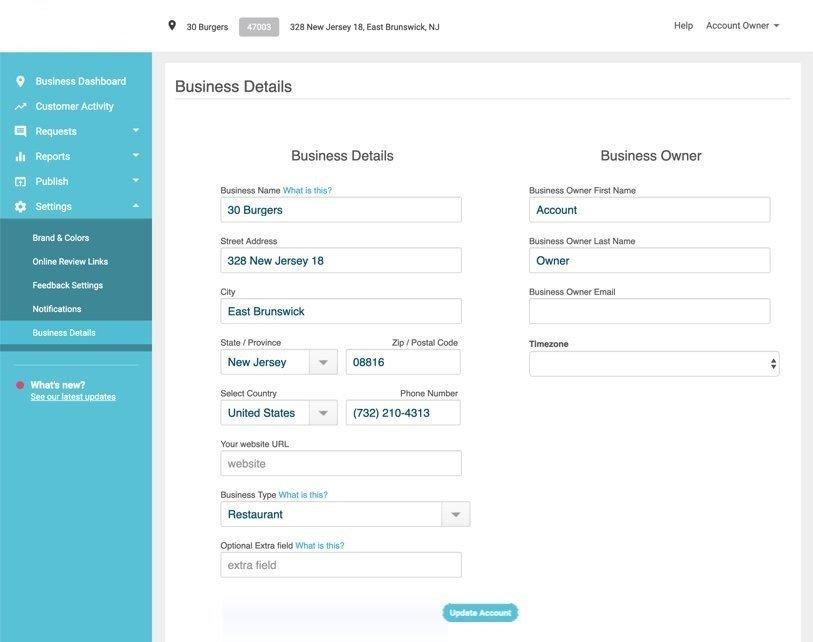 update business location details 1