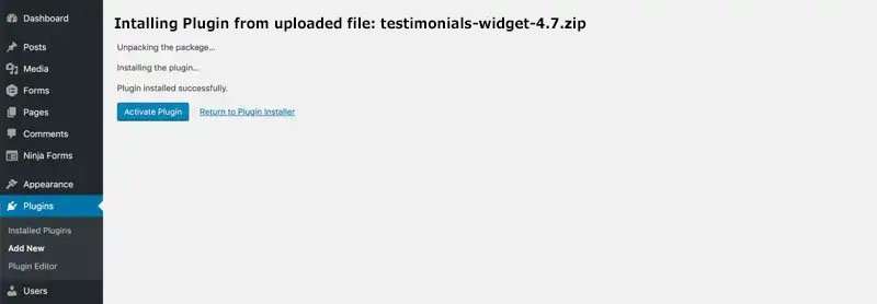 wp add review widget plugin installed activate