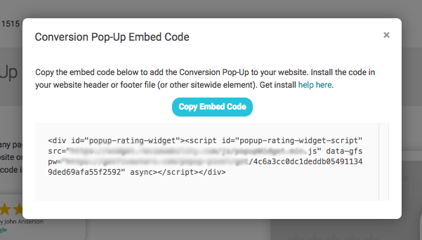 Conversion code embed