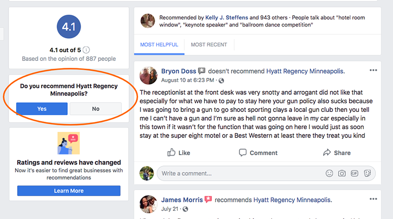 Facebook reviews change YESNO