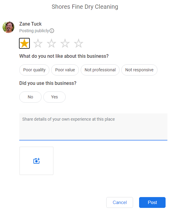 Google Review Attributes 1 star