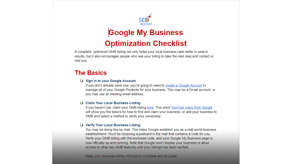 Google My Business Optimization Checklist sample