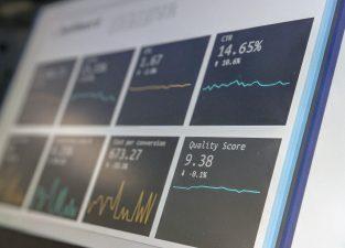 laptop screen showing website data
